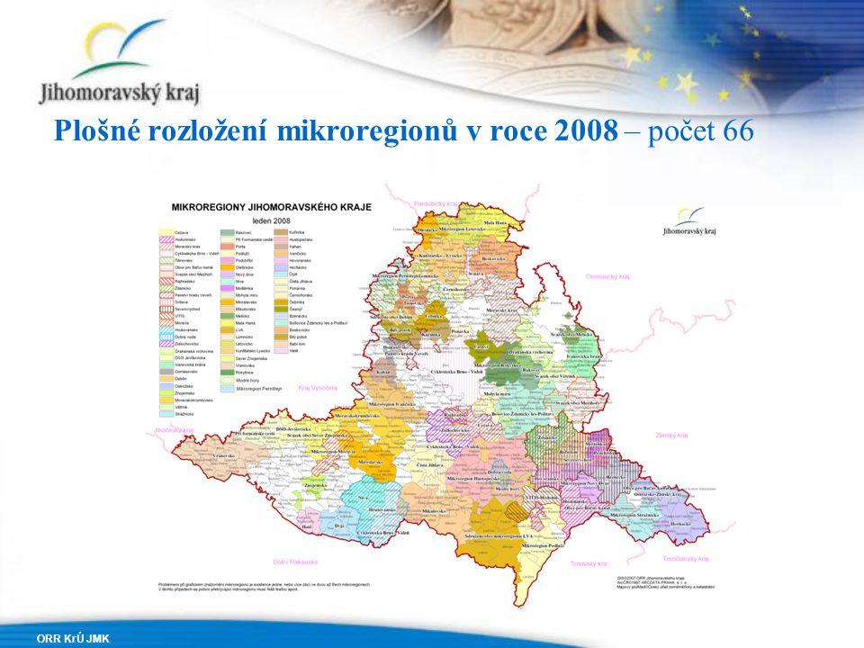 ORR KrÚ JMK Plošné rozložení mikroregionů v roce 2008 – počet 66