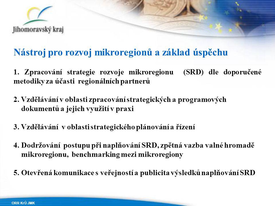 ORR KrÚ JMK Nástroj pro rozvoj mikroregionů a základ úspěchu 1.