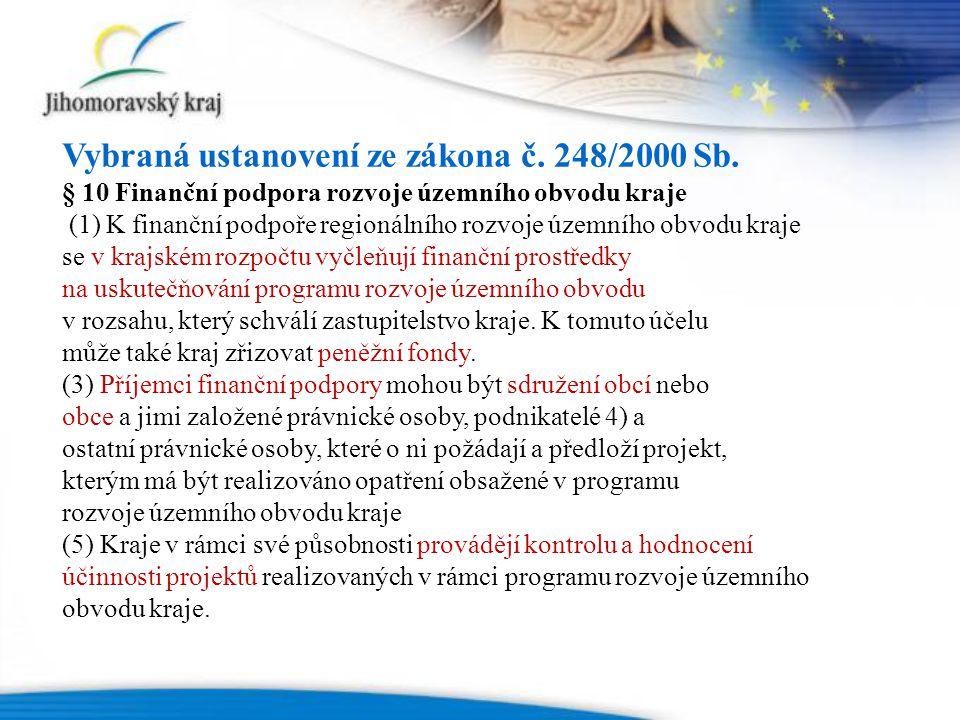 Vybraná ustanovení ze zákona č. 248/2000 Sb.