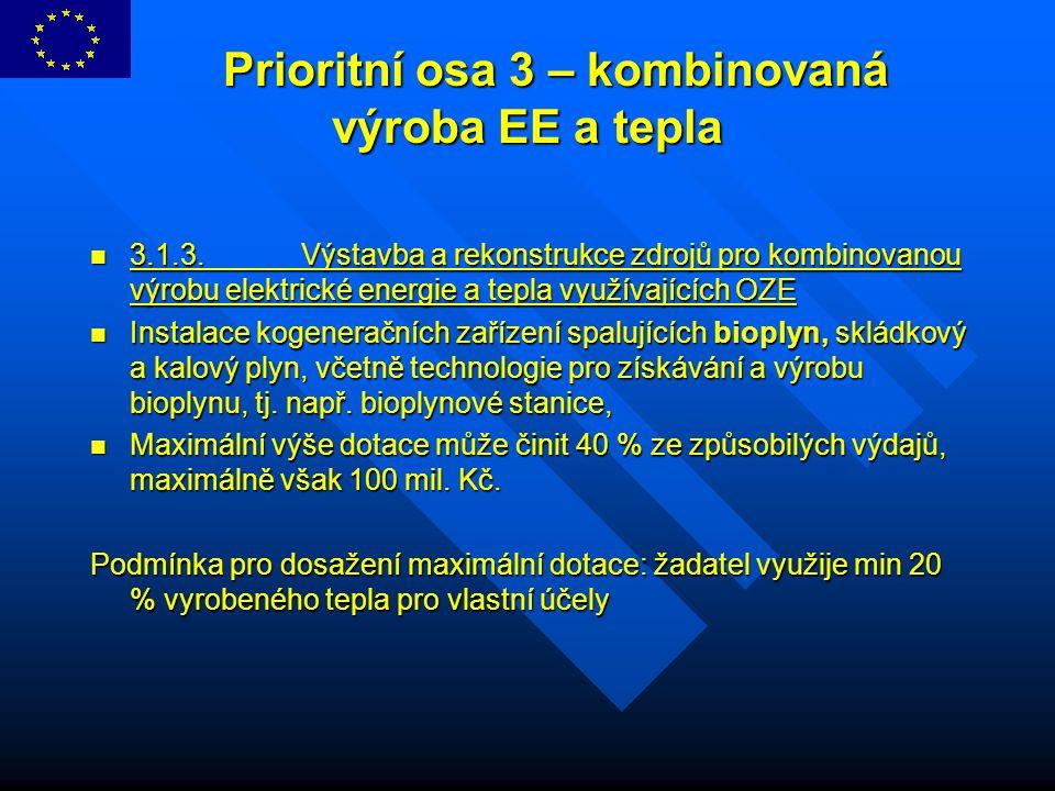Prioritní osa 3 – kombinovaná výroba EE a tepla Prioritní osa 3 – kombinovaná výroba EE a tepla 3.1.3.Výstavba a rekonstrukce zdrojů pro kombinovanou