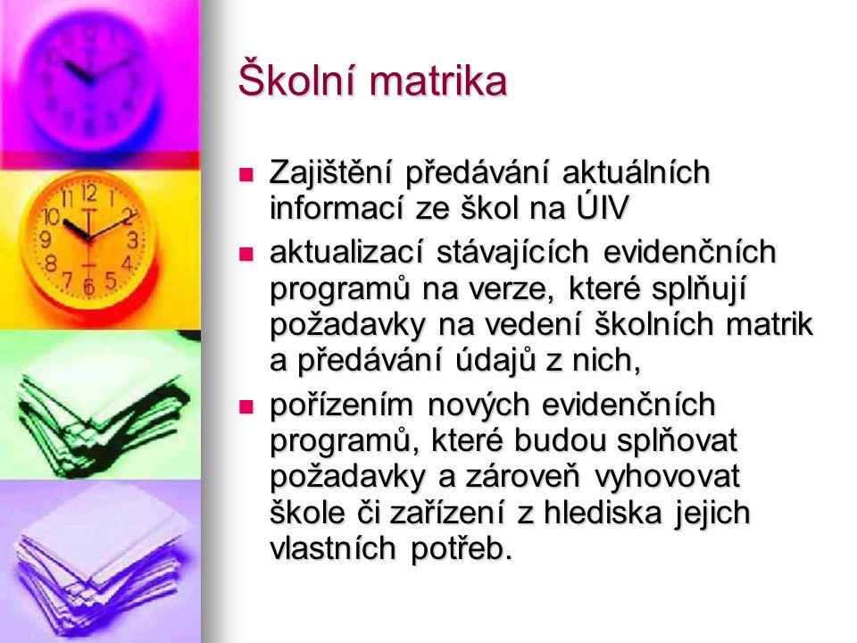 Školní matrika Zajištění předávání aktuálních informací ze škol na ÚIV Zajištění předávání aktuálních informací ze škol na ÚIV aktualizací stávajících