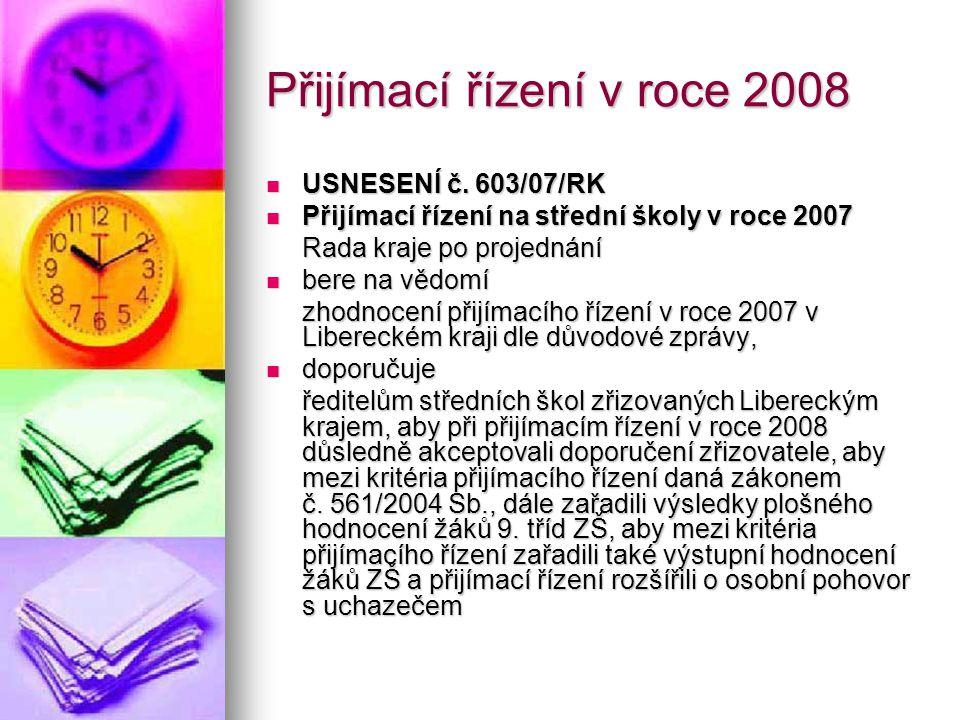 Přijímací řízení v roce 2008 USNESENÍ č. 603/07/RK USNESENÍ č. 603/07/RK Přijímací řízení na střední školy v roce 2007 Přijímací řízení na střední ško