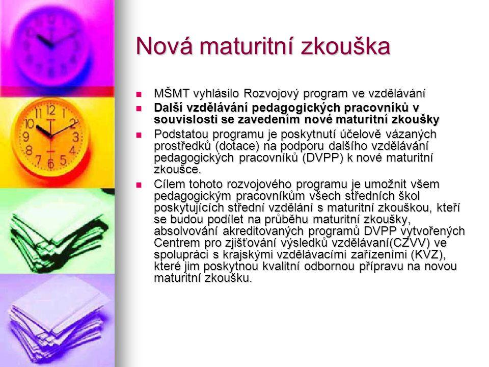 Nová maturitní zkouška MŠMT vyhlásilo Rozvojový program ve vzdělávání MŠMT vyhlásilo Rozvojový program ve vzdělávání Další vzdělávání pedagogických pr