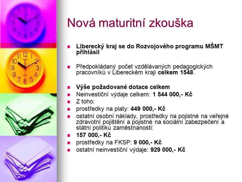 Nová maturitní zkouška Liberecký kraj se do Rozvojového programu MŠMT přihlásil Liberecký kraj se do Rozvojového programu MŠMT přihlásil Předpokládaný