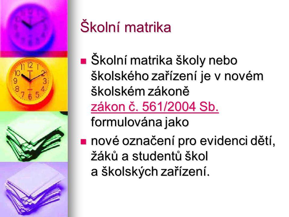 Školní matrika Školní matrika školy nebo školského zařízení je v novém školském zákoně zákon č. 561/2004 Sb. formulována jako Školní matrika školy neb