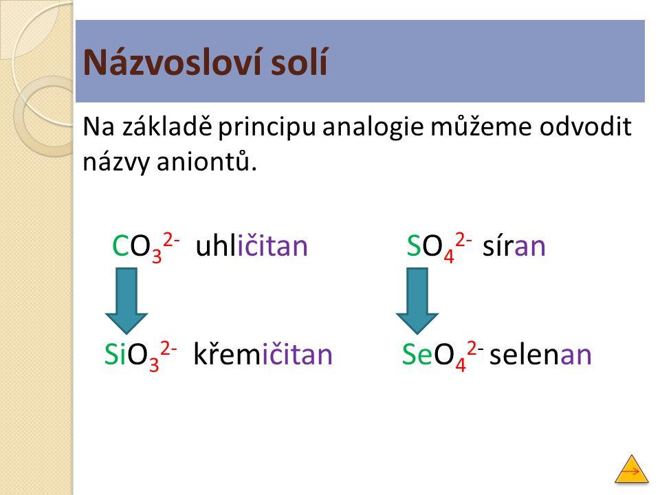 Na základě principu analogie můžeme odvodit názvy aniontů. CO 3 2- uhličitan SO 4 2- síran SiO 3 2- křemičitan SeO 4 2- selenan Názvosloví solí