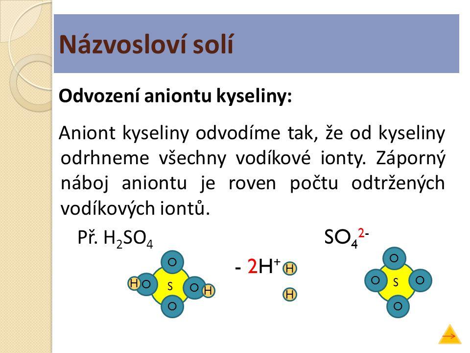 Názvosloví solí Aniont kyseliny odvodíme tak, že od kyseliny odrhneme všechny vodíkové ionty. Záporný náboj aniontu je roven počtu odtržených vodíkový