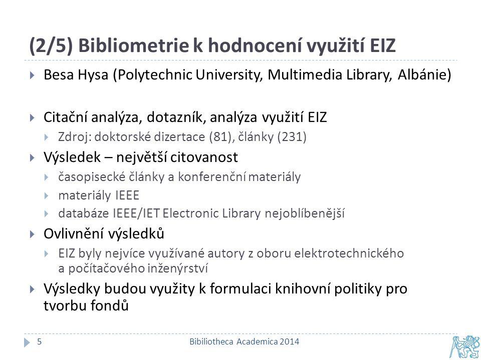 (3/5) Potřebuje akademická knihovna specialisty na bibliometrii.