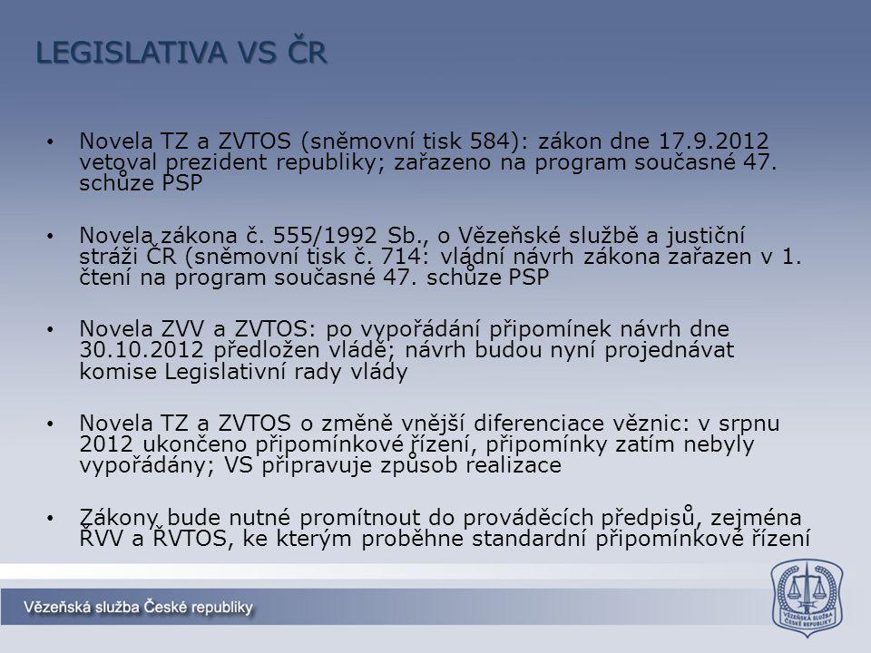 LEGISLATIVA VS ČR Novela TZ a ZVTOS (sněmovní tisk 584): zákon dne 17.9.2012 vetoval prezident republiky; zařazeno na program současné 47. schůze PSP
