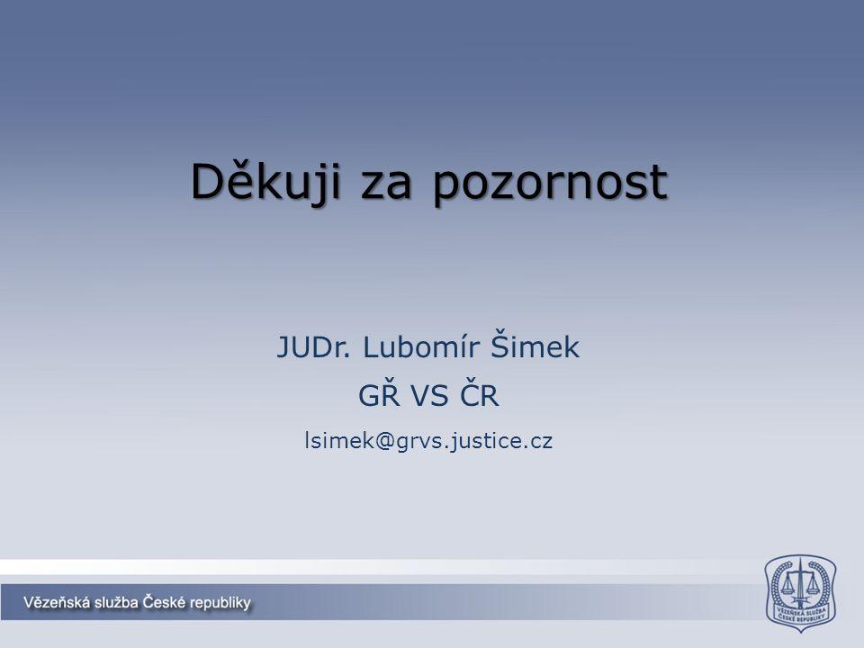 Děkuji za pozornost JUDr. Lubomír Šimek GŘ VS ČR lsimek@grvs.justice.cz