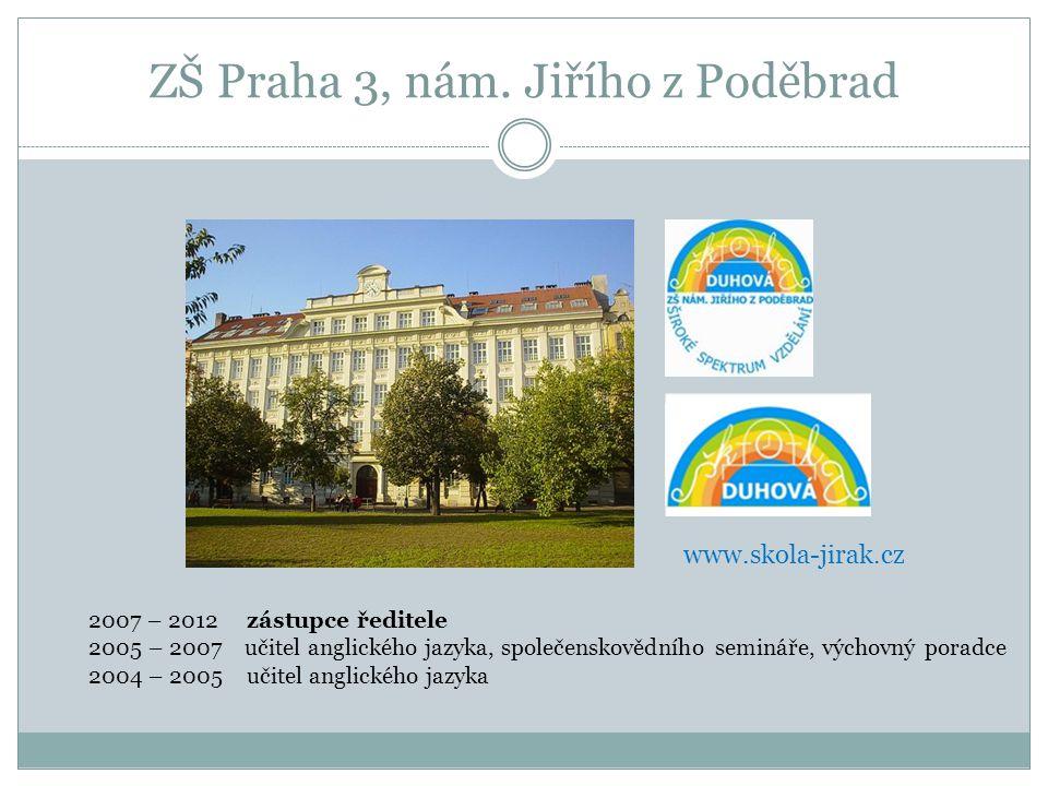 ZŠ Praha 7, Strossmayerovo nám. 4 srpen 2012 – současnost ředitel školy www.zs-stross.cz