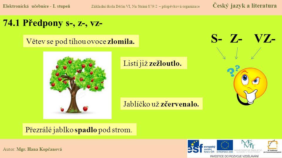 74.1 Předpony s-, z-, vz- Elektronická učebnice - I.