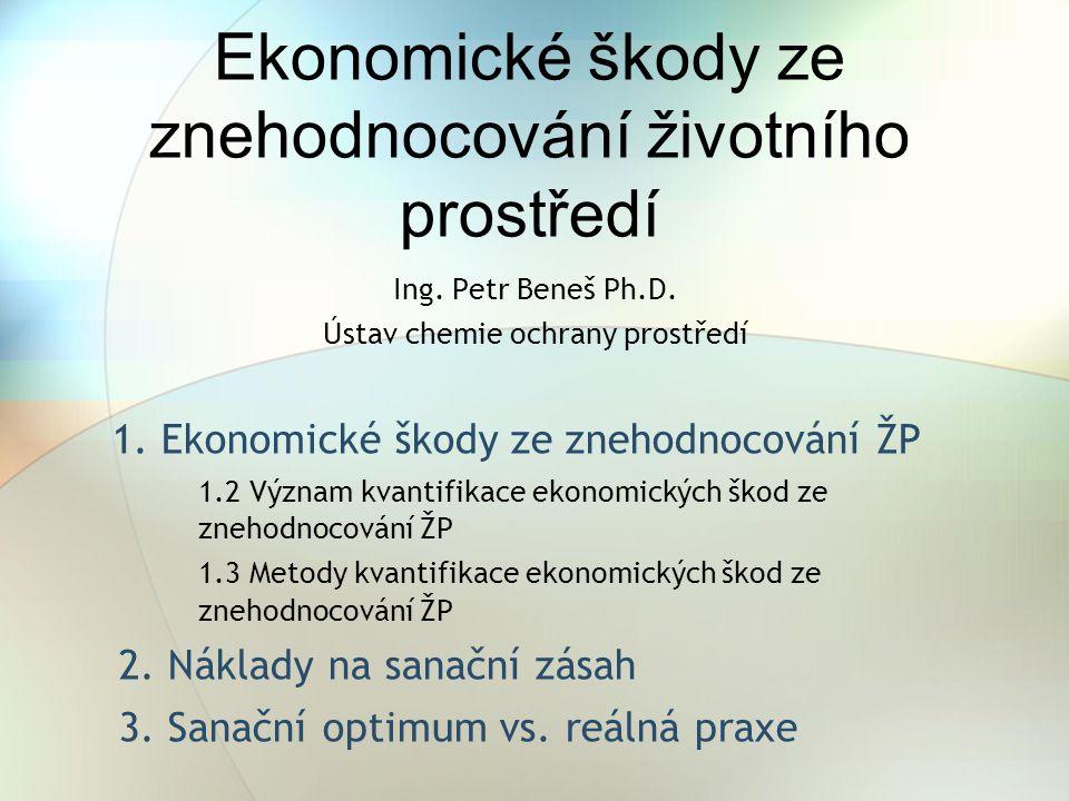 Ekonomické škody ze znehodnocování životního prostředí 1. Ekonomické škody ze znehodnocování ŽP 1.2 Význam kvantifikace ekonomických škod ze znehodnoc