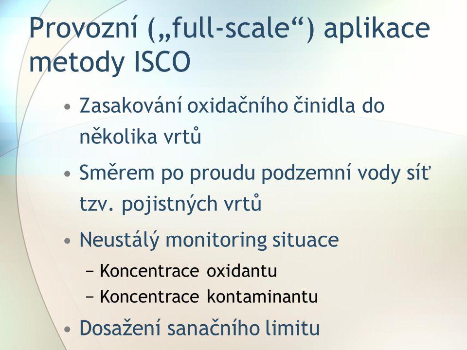 """Provozní (""""full-scale"""") aplikace metody ISCO Zasakování oxidačního činidla do několika vrtů Směrem po proudu podzemní vody síť tzv. pojistných vrtů Ne"""