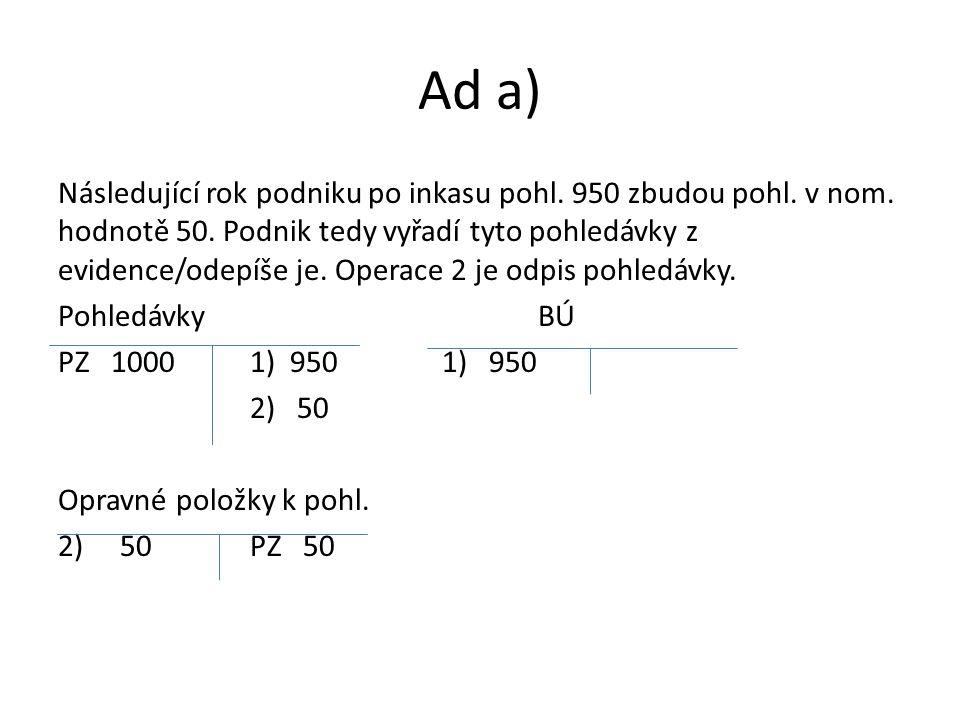 Ad b) Odhad se nepovedl.Nakonec nebylo zaplaceno 60 (tzv.