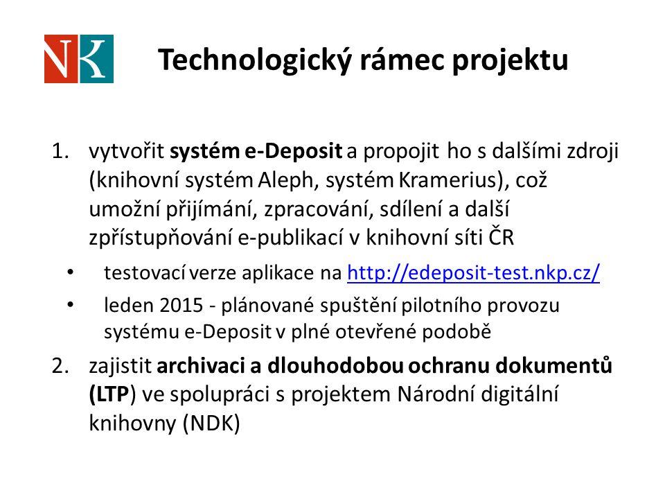 Technologický rámec projektu 1.vytvořit systém e-Deposit a propojit ho s dalšími zdroji (knihovní systém Aleph, systém Kramerius), což umožní přijímání, zpracování, sdílení a další zpřístupňování e-publikací v knihovní síti ČR testovací verze aplikace na http://edeposit-test.nkp.cz/http://edeposit-test.nkp.cz/ leden 2015 - plánované spuštění pilotního provozu systému e-Deposit v plné otevřené podobě 2.zajistit archivaci a dlouhodobou ochranu dokumentů (LTP) ve spolupráci s projektem Národní digitální knihovny (NDK)