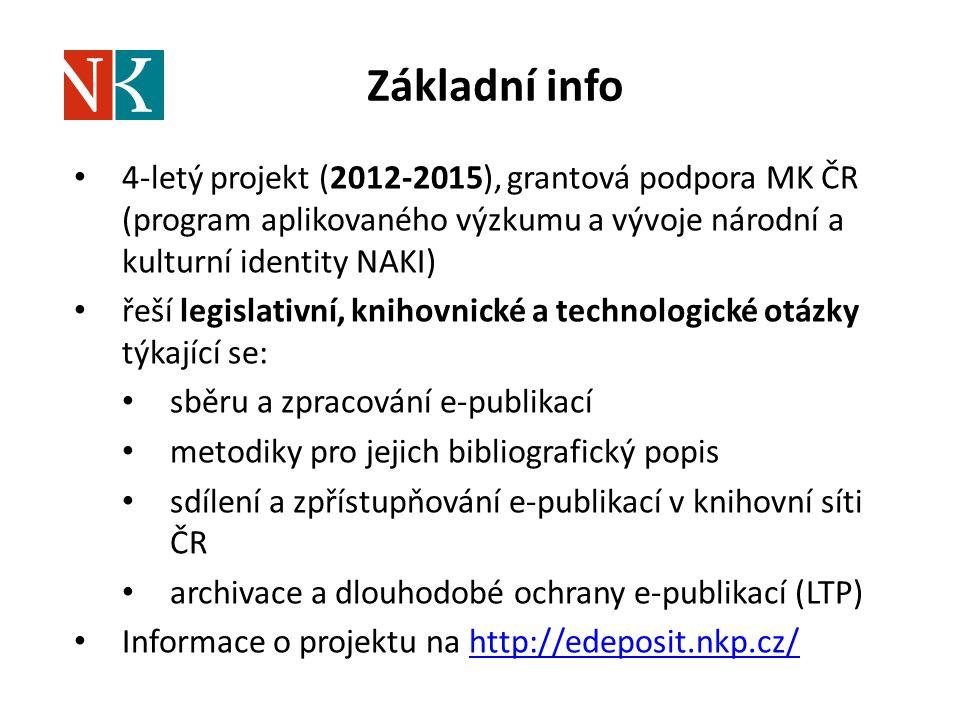 Základní info 4-letý projekt (2012-2015), grantová podpora MK ČR (program aplikovaného výzkumu a vývoje národní a kulturní identity NAKI) řeší legisla