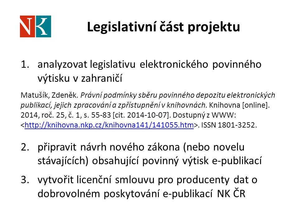 Legislativní část projektu 1.analyzovat legislativu elektronického povinného výtisku v zahraničí Matušík, Zdeněk. Právní podmínky sběru povinného depo
