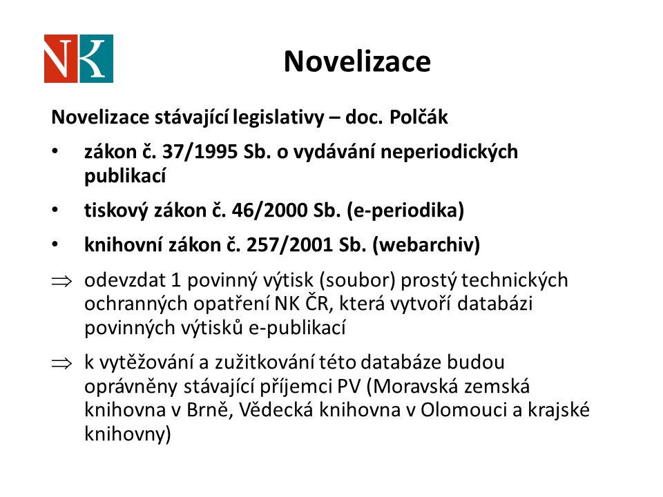 Novelizace Novelizace stávající legislativy – doc. Polčák zákon č. 37/1995 Sb. o vydávání neperiodických publikací tiskový zákon č. 46/2000 Sb. (e-per