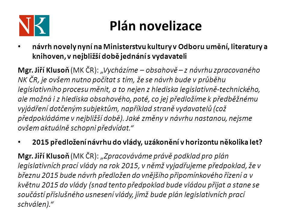 Plán novelizace návrh novely nyní na Ministerstvu kultury v Odboru umění, literatury a knihoven, v nejbližší době jednání s vydavateli Mgr. Jiří Kluso