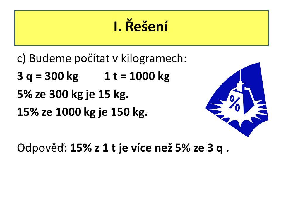 I. Řešení c) Budeme počítat v kilogramech: 3 q = 300 kg 1 t = 1000 kg 5% ze 300 kg je 15 kg. 15% ze 1000 kg je 150 kg. Odpověď: 15% z 1 t je více než