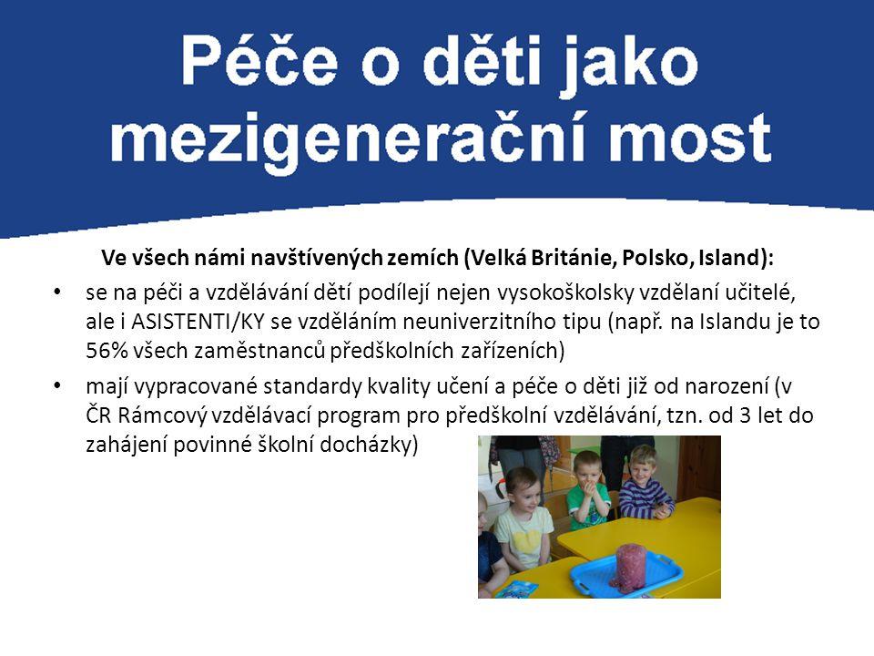 Ve všech námi navštívených zemích (Velká Británie, Polsko, Island): se na péči a vzdělávání dětí podílejí nejen vysokoškolsky vzdělaní učitelé, ale i