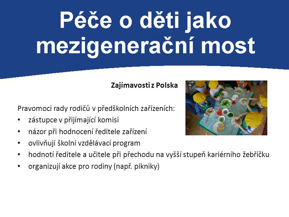 Zajímavosti z Polska Pravomoci rady rodičů v předškolních zařízeních: zástupce v přijímající komisi názor při hodnocení ředitele zařízení ovlivňují šk