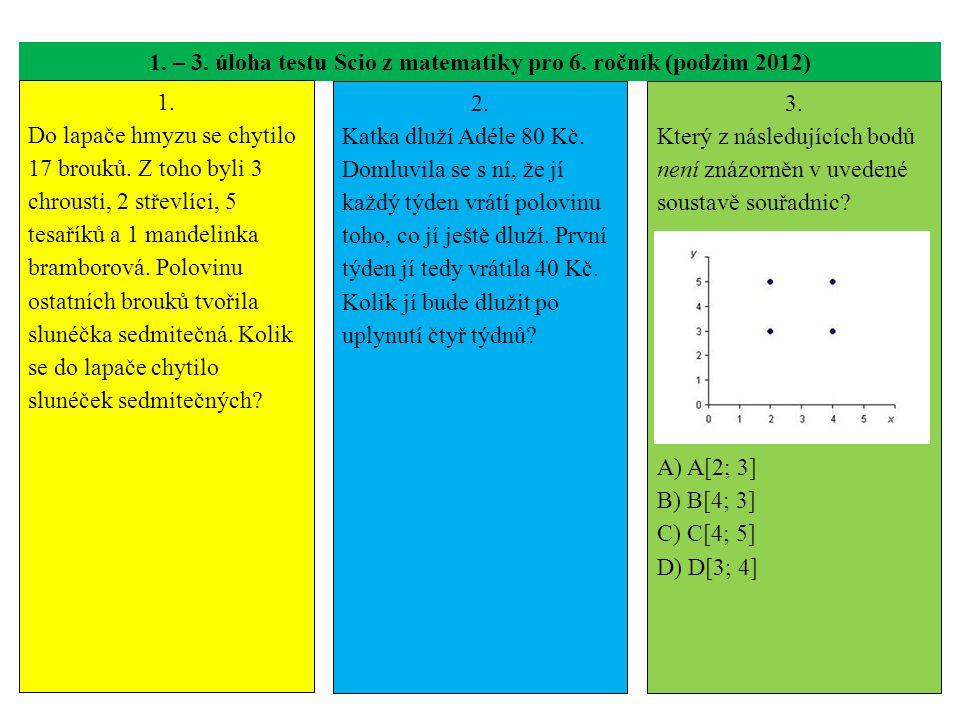 1. – 3. úloha testu Scio z matematiky pro 6. ročník (podzim 2012) 1. Do lapače hmyzu se chytilo 17 brouků. Z toho byli 3 chrousti, 2 střevlíci, 5 tesa