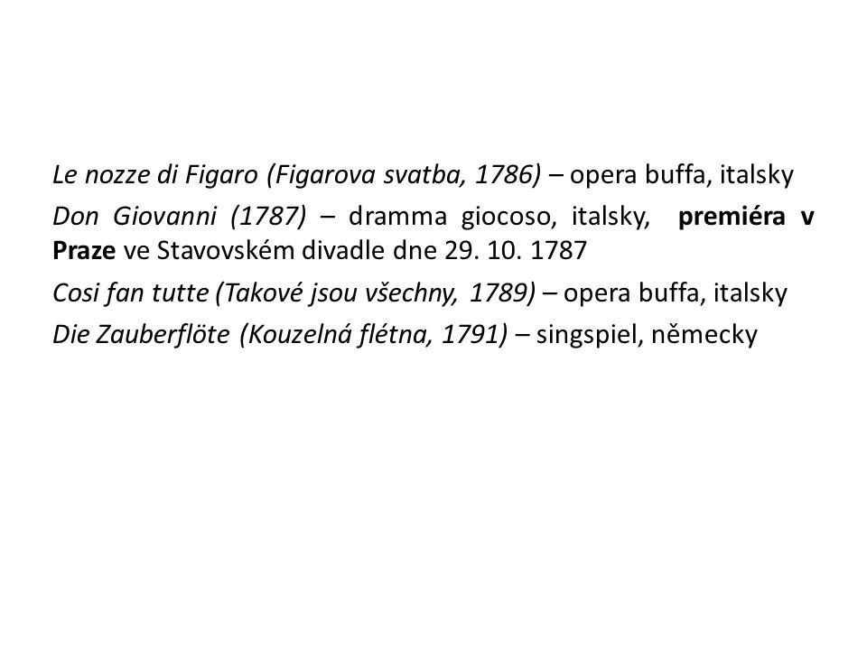 Le nozze di Figaro (Figarova svatba, 1786) – opera buffa, italsky Don Giovanni (1787) – dramma giocoso, italsky, premiéra v Praze ve Stavovském divadl