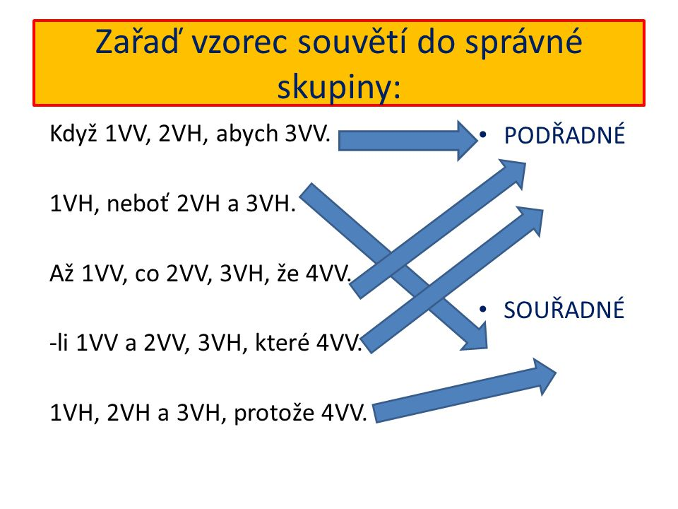 Zařaď vzorec souvětí do správné skupiny: Když 1VV, 2VH, abych 3VV.