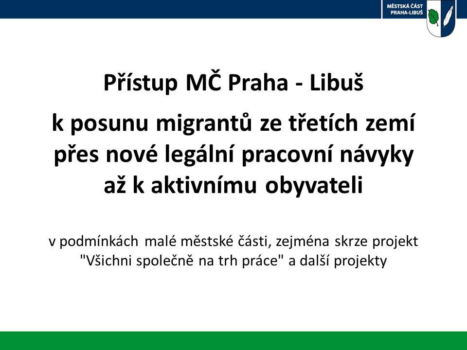 Přístup MČ Praha - Libuš k posunu migrantů ze třetích zemí přes nové legální pracovní návyky až k aktivnímu obyvateli v podmínkách malé městské části, zejména skrze projekt Všichni společně na trh práce a další projekty