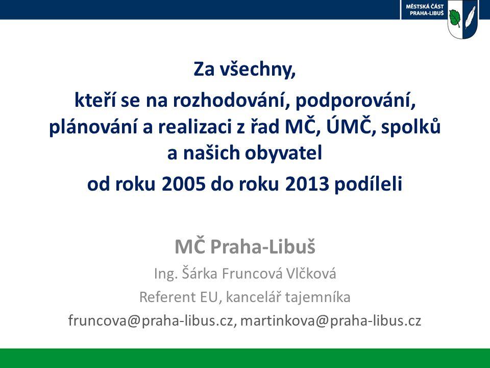 Za všechny, kteří se na rozhodování, podporování, plánování a realizaci z řad MČ, ÚMČ, spolků a našich obyvatel od roku 2005 do roku 2013 podíleli MČ Praha-Libuš Ing.