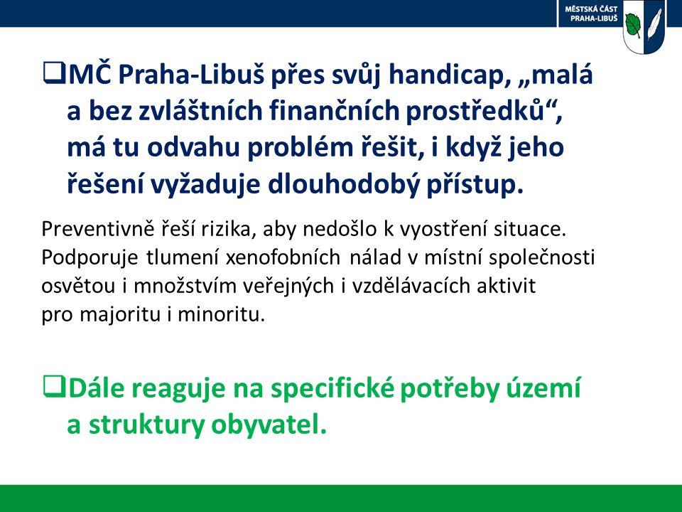 """ MČ Praha-Libuš přes svůj handicap, """"malá a bez zvláštních finančních prostředků , má tu odvahu problém řešit, i když jeho řešení vyžaduje dlouhodobý přístup."""