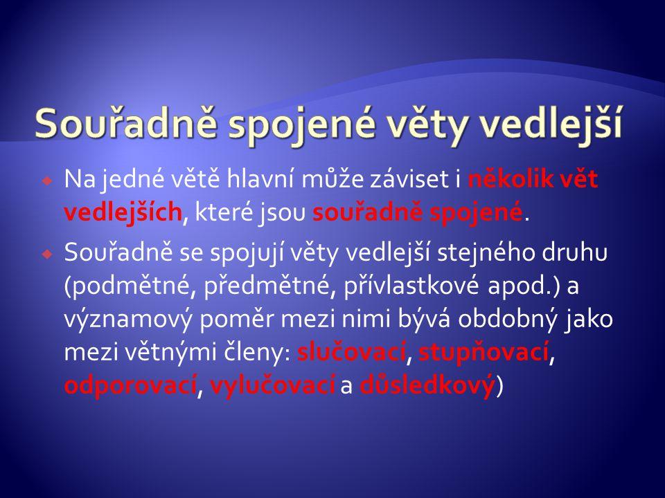  Na jedné větě hlavní může záviset i několik vět vedlejších, které jsou souřadně spojené.