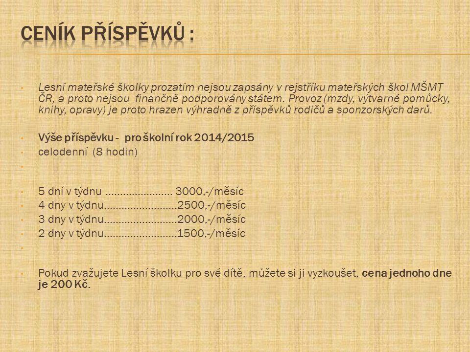 Lesní mateřské školky prozatím nejsou zapsány v rejstříku mateřských škol MŠMT ČR, a proto nejsou finančně podporovány státem. Provoz (mzdy, výtvarné