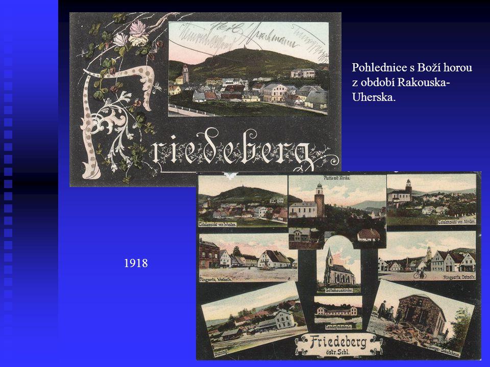 Pohlednice s Boží horou z období Rakouska- Uherska. 1918