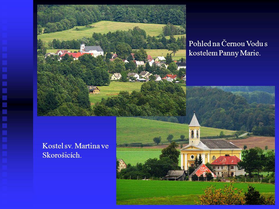 Pohled na Černou Vodu s kostelem Panny Marie. Kostel sv. Martina ve Skorošicích.