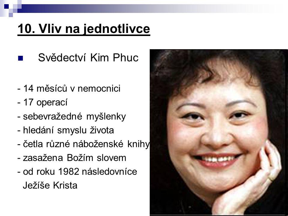 Svědectví Kim Phuc - 14 měsíců v nemocnici - 17 operací - sebevražedné myšlenky - hledání smyslu života - četla různé náboženské knihy - zasažena Boží