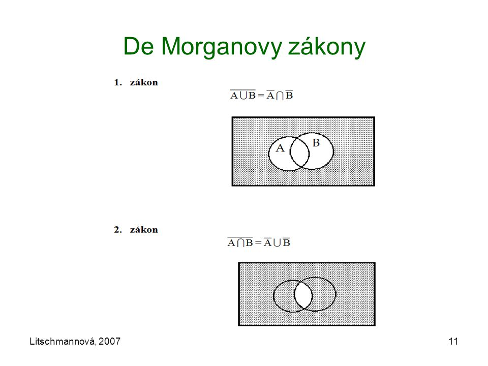 Litschmannová, 200711 De Morganovy zákony