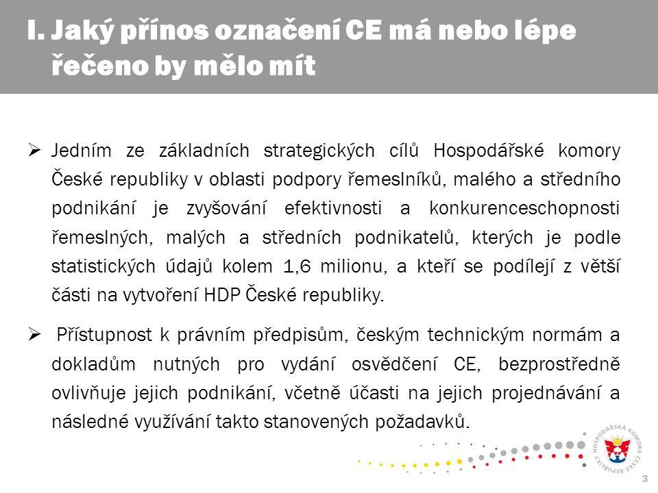 3  Jedním ze základních strategických cílů Hospodářské komory České republiky v oblasti podpory řemeslníků, malého a středního podnikání je zvyšování efektivnosti a konkurenceschopnosti řemeslných, malých a středních podnikatelů, kterých je podle statistických údajů kolem 1,6 milionu, a kteří se podílejí z větší části na vytvoření HDP České republiky.