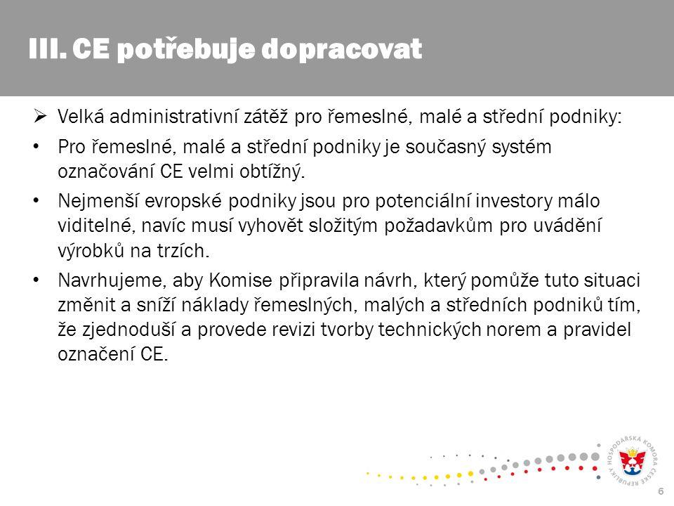 6  Velká administrativní zátěž pro řemeslné, malé a střední podniky: Pro řemeslné, malé a střední podniky je současný systém označování CE velmi obtížný.