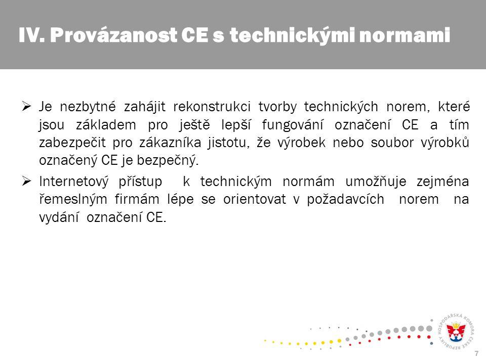 7  Je nezbytné zahájit rekonstrukci tvorby technických norem, které jsou základem pro ještě lepší fungování označení CE a tím zabezpečit pro zákazníka jistotu, že výrobek nebo soubor výrobků označený CE je bezpečný.