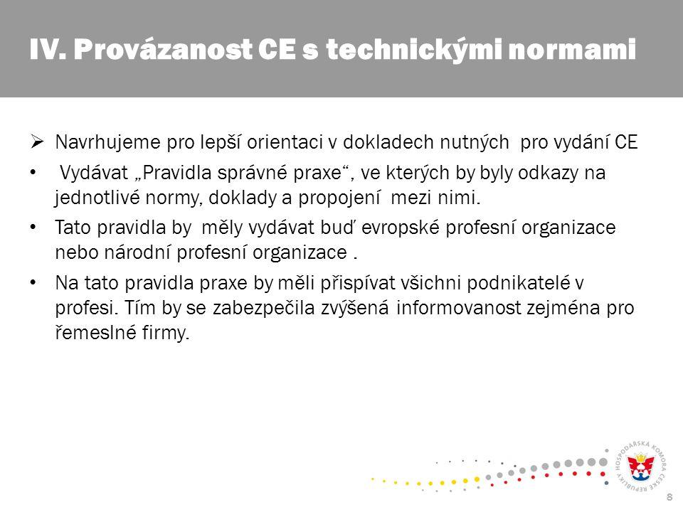 """8  Navrhujeme pro lepší orientaci v dokladech nutných pro vydání CE Vydávat """"Pravidla správné praxe , ve kterých by byly odkazy na jednotlivé normy, doklady a propojení mezi nimi."""