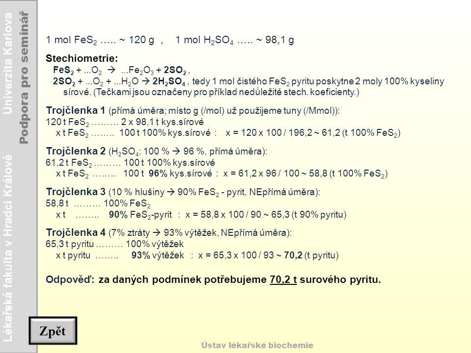 Lékařská fakulta v Hradci Králové Univerzita Karlova Podpora pro seminář Ústav lékařské biochemie Zpět 1 mol FeS 2 ….. ~ 120 g, 1 mol H 2 SO 4 ….. ~ 9