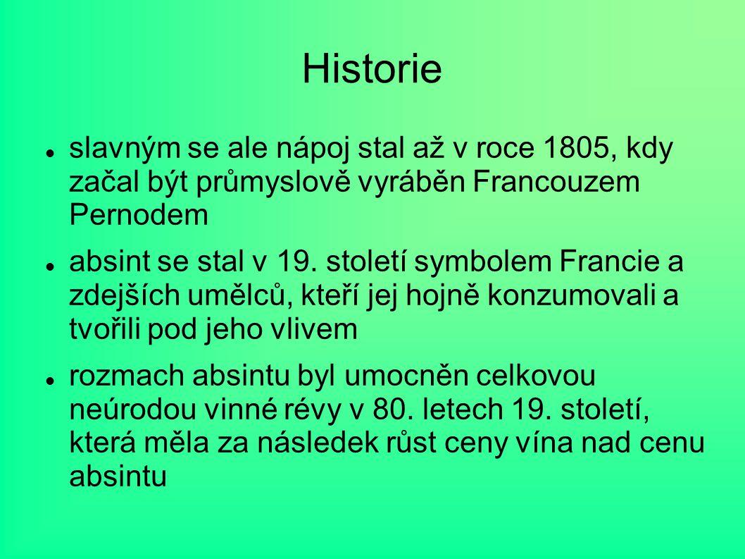 Historie slavným se ale nápoj stal až v roce 1805, kdy začal být průmyslově vyráběn Francouzem Pernodem absint se stal v 19. století symbolem Francie