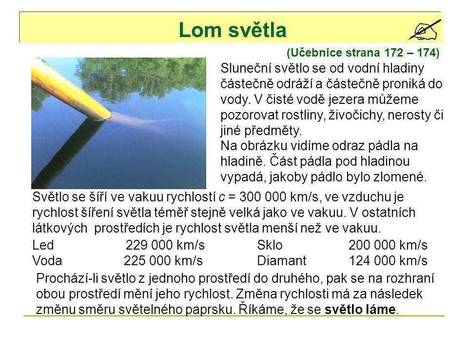 Lom světla (Učebnice strana 172 – 174) Sluneční světlo se od vodní hladiny částečně odráží a částečně proniká do vody. V čisté vodě jezera můžeme pozo
