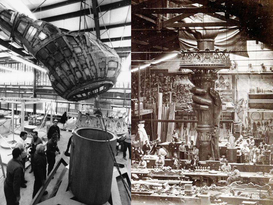 Nejprve ale sochař Frédéric Auguste Bartholdi navrhl malý hliněný model, který byl ve výšce dospělého člověka. Druhý model byl vysoký tři metry. Třetí