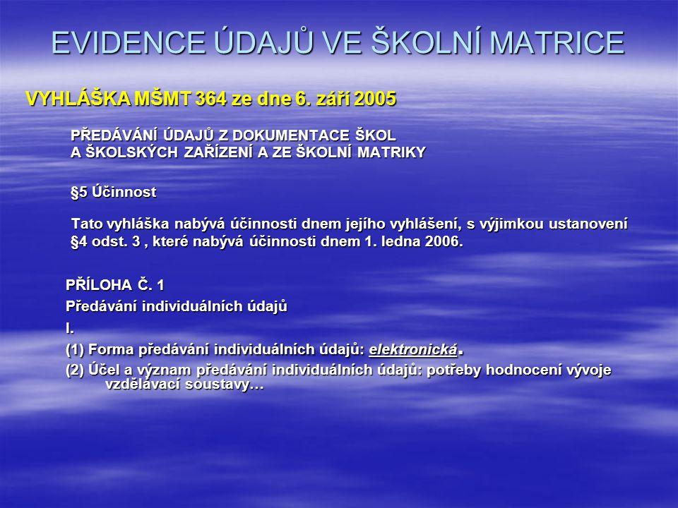 EVIDENCE ÚDAJŮ VE ŠKOLNÍ MATRICE VYHLÁŠKA MŠMT 364 ze dne 6.