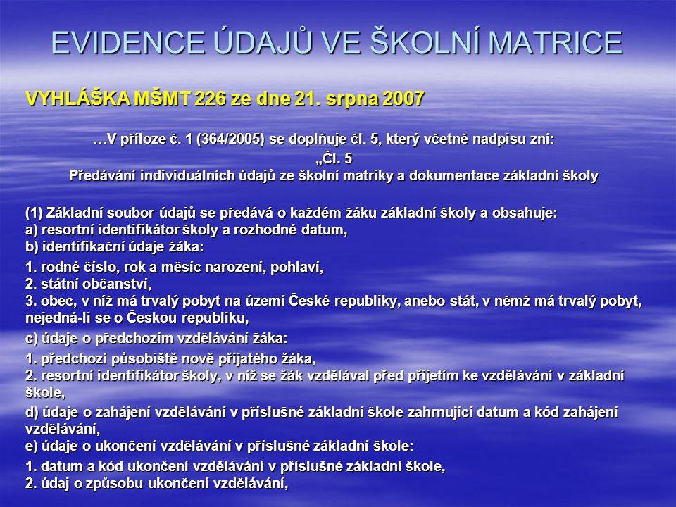 EVIDENCE ÚDAJŮ VE ŠKOLNÍ MATRICE VYHLÁŠKA MŠMT 226 ze dne 21.