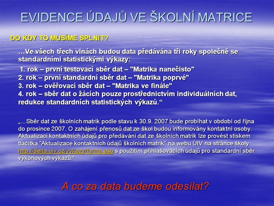 EVIDENCE ÚDAJŮ VE ŠKOLNÍ MATRICE DO KDY TO MUSÍME SPLNIT.